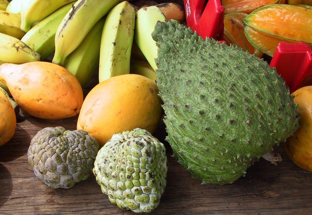 tropical fruit on a table