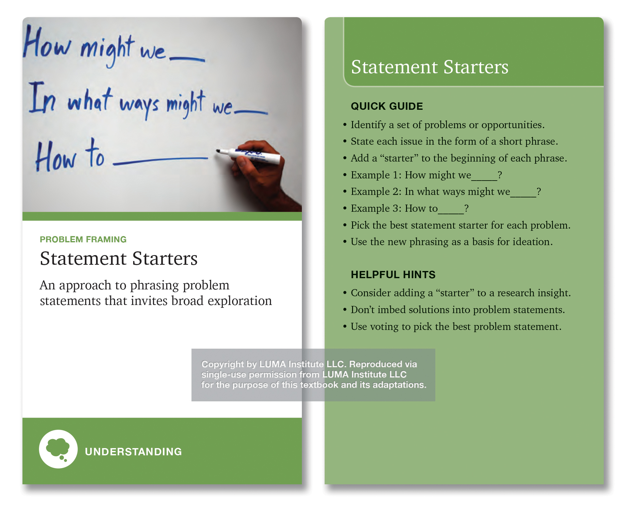 "Depicted, Statement Starters, ""an approach to phrasing problem statements that invites broad exploration."" The quick guide has bullets including ""Identify a set of problems or opportunities. State each issue. Add a ""starter to the beginning of each."" Example: ""How might we…"" Pick the best starter for the problem. Use the new phrasing as the starting point for ideation."