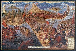 """The Conquest of Tenochtitlan"" http://www.loc.gov/exhibits/kislak/kislak-exhibit.html. Licensed under Public Domain via Commons - https://commons.wikimedia.org/wiki/File:The_Conquest_of_Tenochtitlan.jpg#/media/File:The_Conquest_of_Tenochtitlan.jpg"