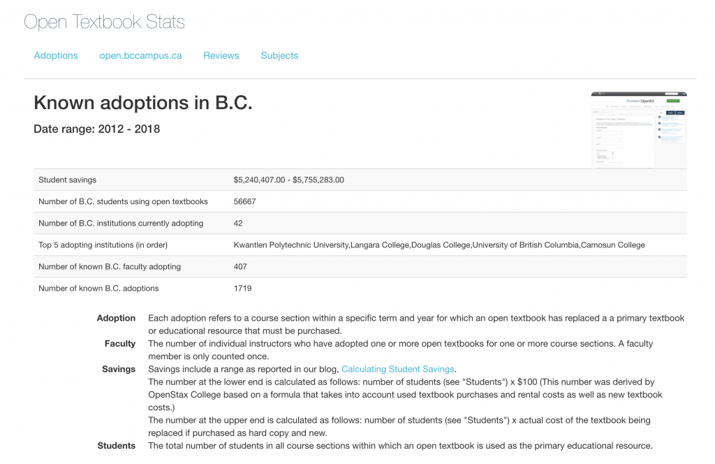 The BCcampus Open Textbook Stats page. Long description available.