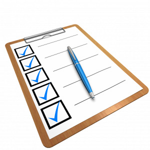 A clipboard with a checklist
