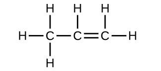 A Lewis structure is shown. A carbon atom is single bonded to three hydrogen atoms and another carbon atom. The second carbon atom is double bonded to another carbon atom and single bonded to a hydrogen atom. The last carbon is single bonded to two hydrogen atoms.