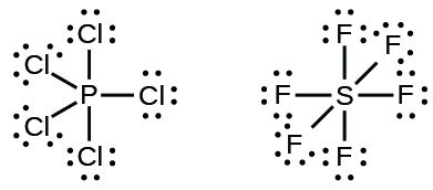 Two Lewis structures are shown. The left shows a phosphorus atom single bonded to five chlorine atoms, each with three lone pairs of electrons. The right shows a sulfur atom single bonded to six fluorine atoms, each with three lone pairs of electrons.