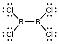 A Lewis structure shows two boron atoms that are single bonded together. Each is also single bonded to two chlorine atoms that both have three lone pairs of electrons.