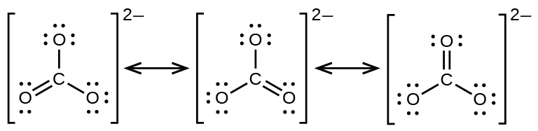 three lewis structures are shown with double headed arrows in between  each  structure is surrounded