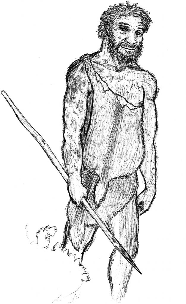 sketch of Homo heidelbergensis hunting