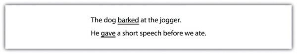 The dog barked (underlined twice) at the jogger. He gave (underlined twice) a short speech before we ate.