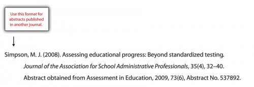 Simposon, M.J. (2008). Assessing educational progress: Beyond standardized testing. Journal of the Association for School Administrative Professionals, 35 (4), 32-40. Abstract obtained from Assessment in Education, 2009, 73(6), Abstract No. 537892.