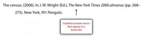 The census. (2006). In J.W. Wright (Ed.), The New York Times 2006 alamanac (pp.268-275). New York, NY: Penguin.