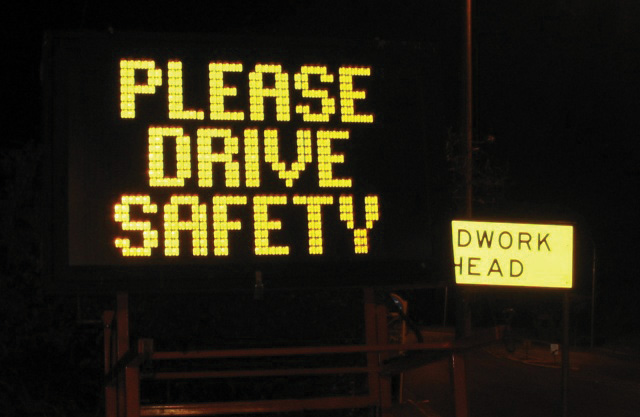 Please Drive Safely sign.