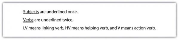 Subjects (underlined) are underlined once. Verbs (underlined) are underlined twice. LV means linking verb, HV means helping verb, ad V means action verb.