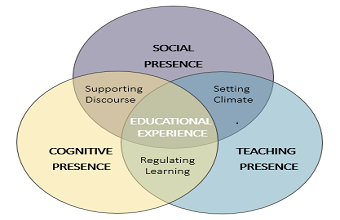 Venn diagram showing the interconnections among teaching, social, and cognitive spheres