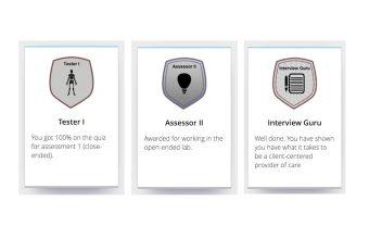 Screenshot of three digital badges including Tester 1 Badge, Assessor II Badge, and Interview Guru Badge