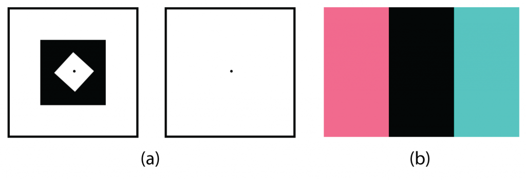 three separate squares with different shapes and colours inside