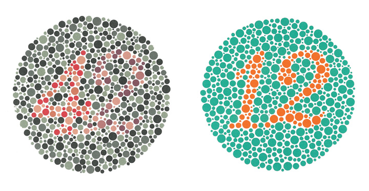 two coloured circles with numbers inside of different colour