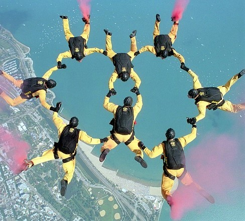 A group of formation skydivers holding hands in a circle during a free fall.
