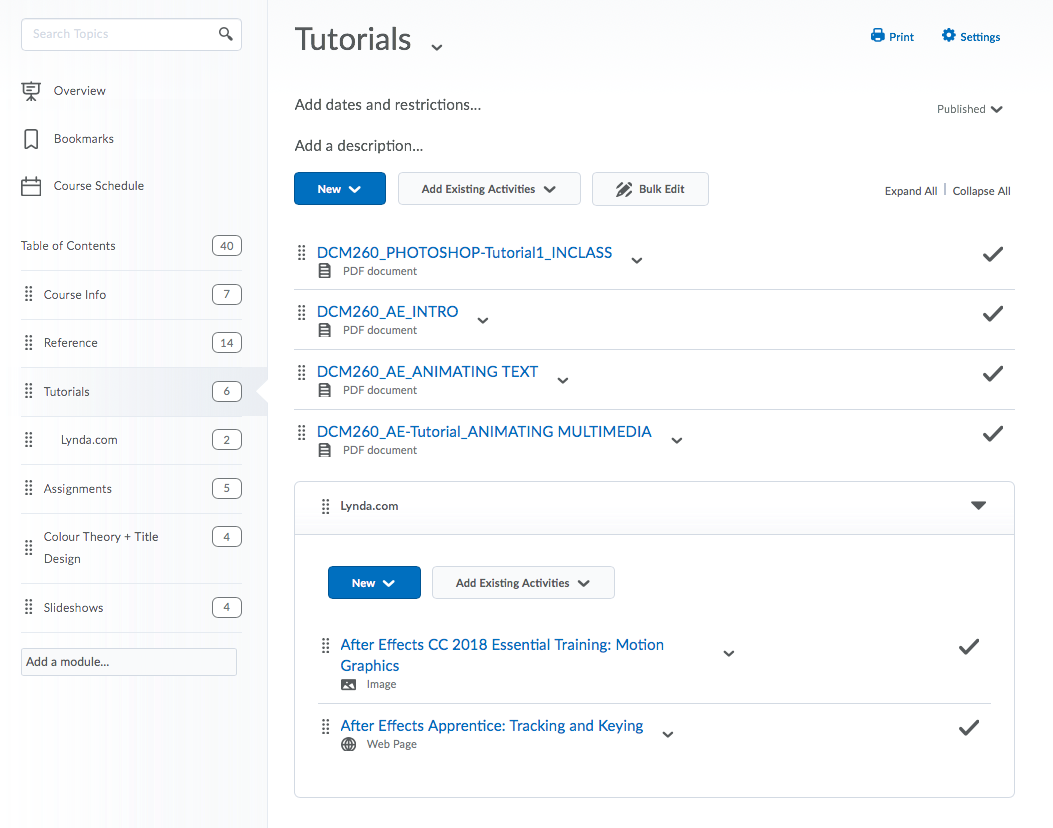Screen capture of the tutorials page in D2 Showing the course contents and links to the LinkedIn Learning tutorial content
