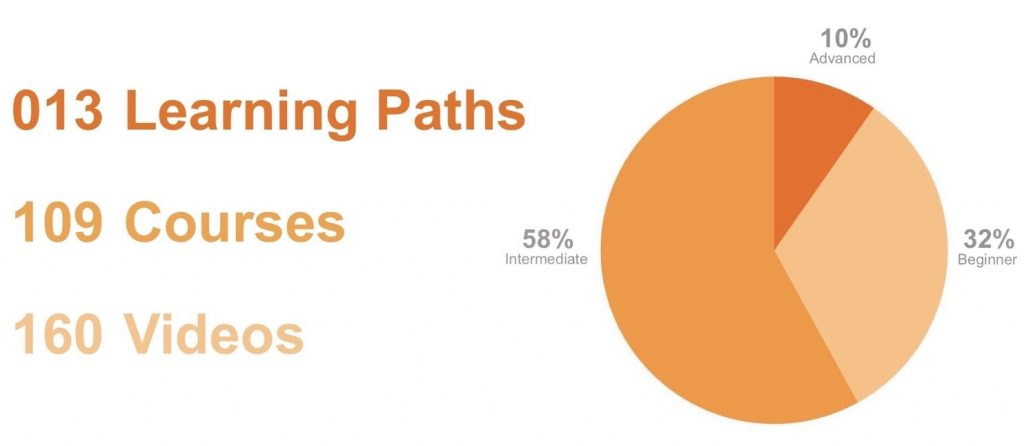 Data science learning paths, courses, and videos demonstrated by beginner (32%), intermediate (58%), and advanced skill level (10%)s. There are 13 learning paths, 109 course, and 160 videos.
