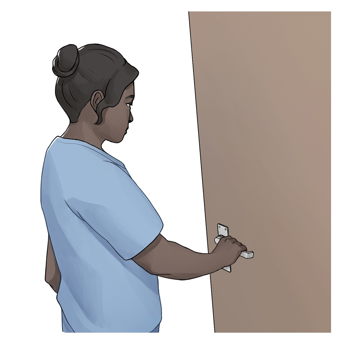 A nurse grasps the handle of a door as they move to exit the room.