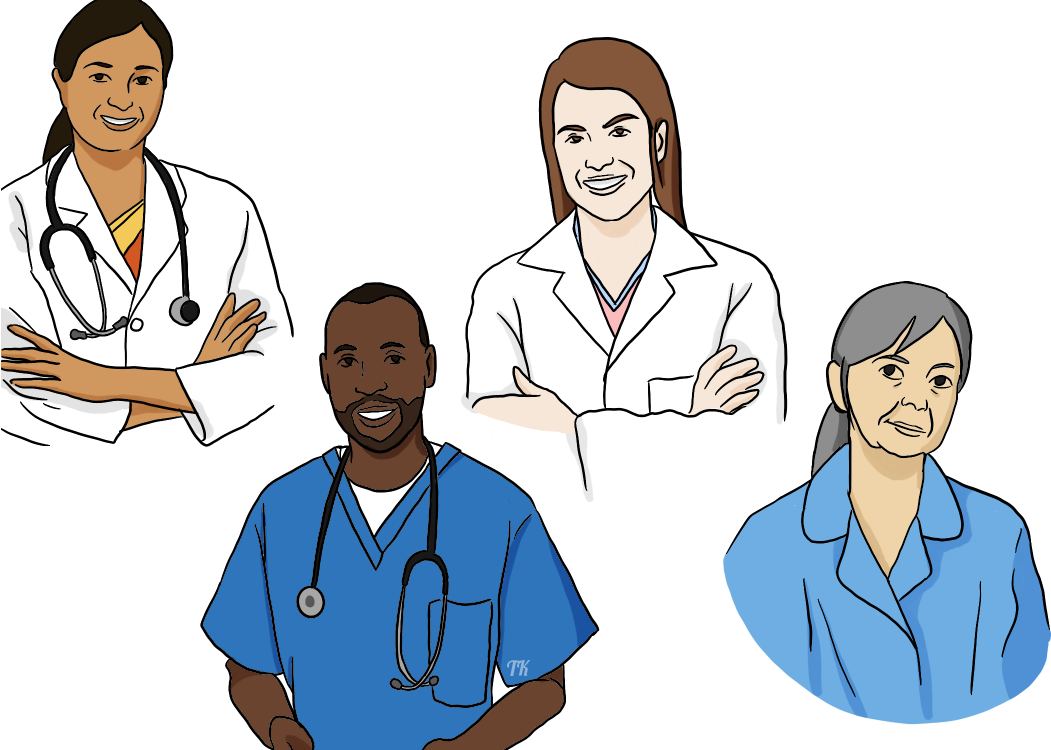 A female doctor, male nurse, transgender female pharmacist, and female midwife. A doctor, nurse, pharmacist and midwife.