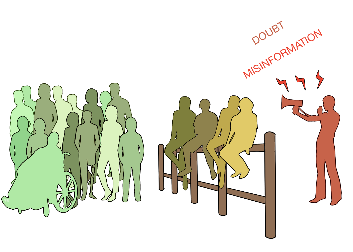 """15 figures colored green are standing on the left side of a fence, facing the left. 4 figures colored yellow are sitting on a fence facing the right 1 figure colored red is holding a megaphone facing the left, shouting """"DOUBT"""" and """"MISINFORMATION""""."""