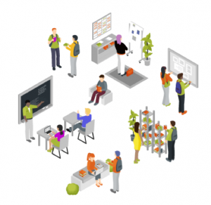 Displaying people interacting in different ways within an active learning classroom.