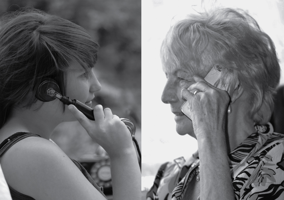 Young and older woman on the telephone. Image description available.