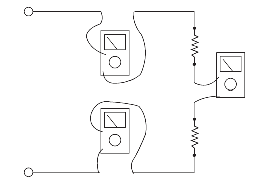 Ammeter connections to measure the same current at different points in a circuit