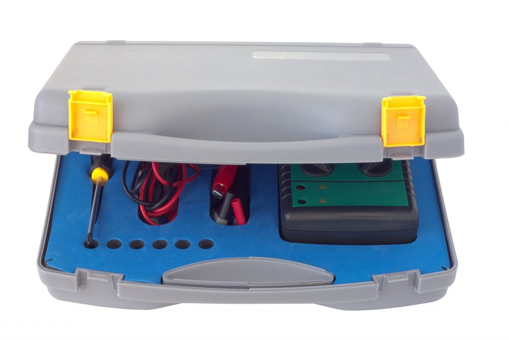 Multimeter stored inside a clean, dry case