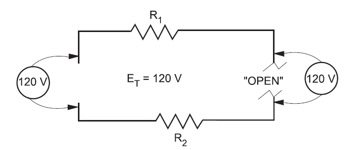 Voltage across an open circuit