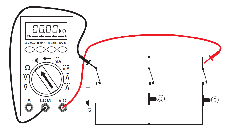 Diagram illustrating the wiring for a continuity Test