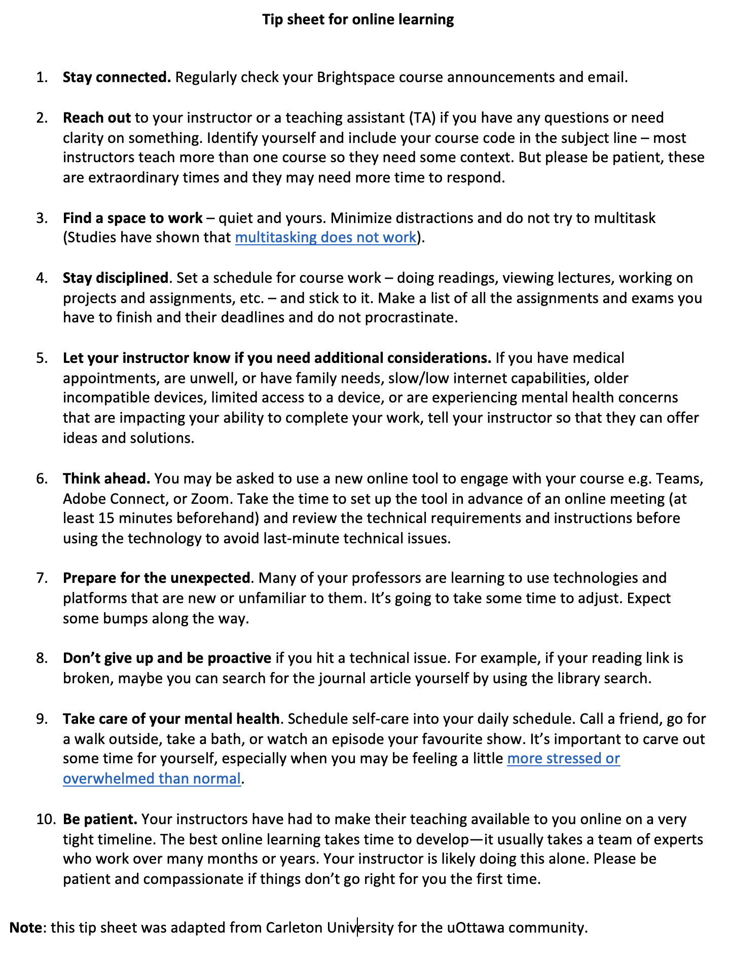 Tip sheet for working online