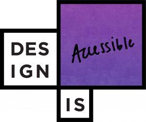 Creative design element utilizing the OCAD University logo stating: Design is Accessible