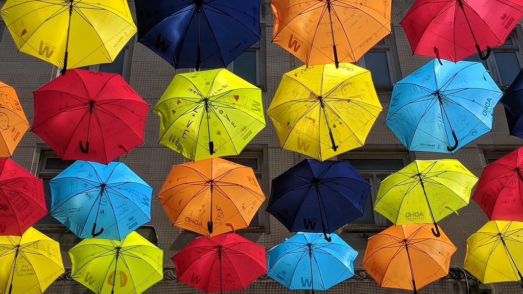 ADHD Umbrella Project with umbrellas in the sky