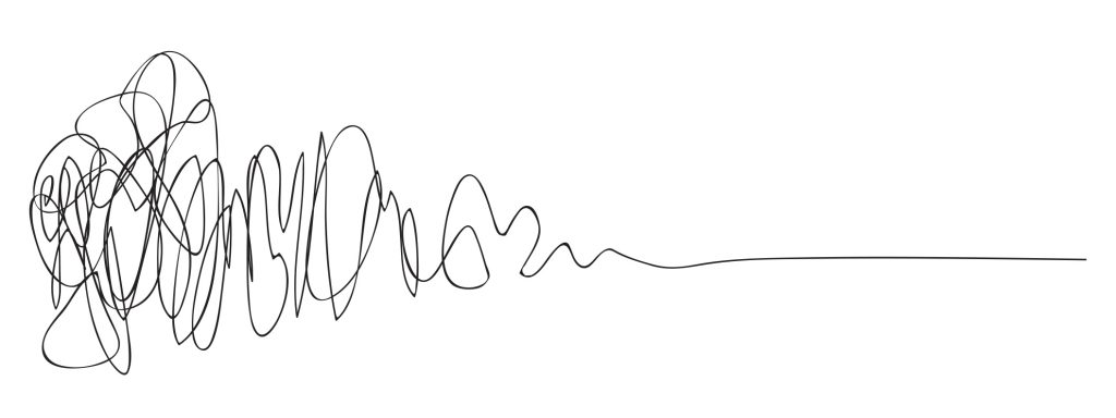 an illustration of what is known as the design squiggle, a line that starts very jumbled and confused and as it progresses from left to right it becomes straight