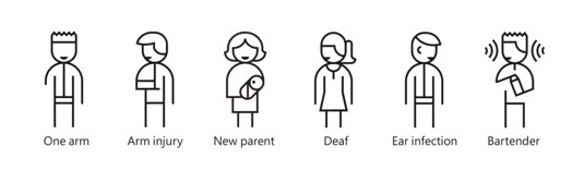 persons with disabilities - shows a person with one arm, an arm injury, a new parent, a deaf person, an ear infection and a bartender