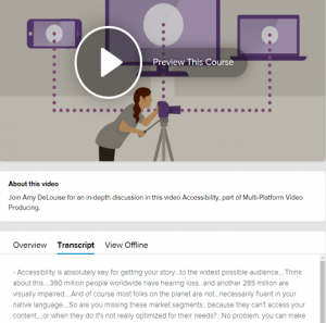 Video example with description and text transcripts