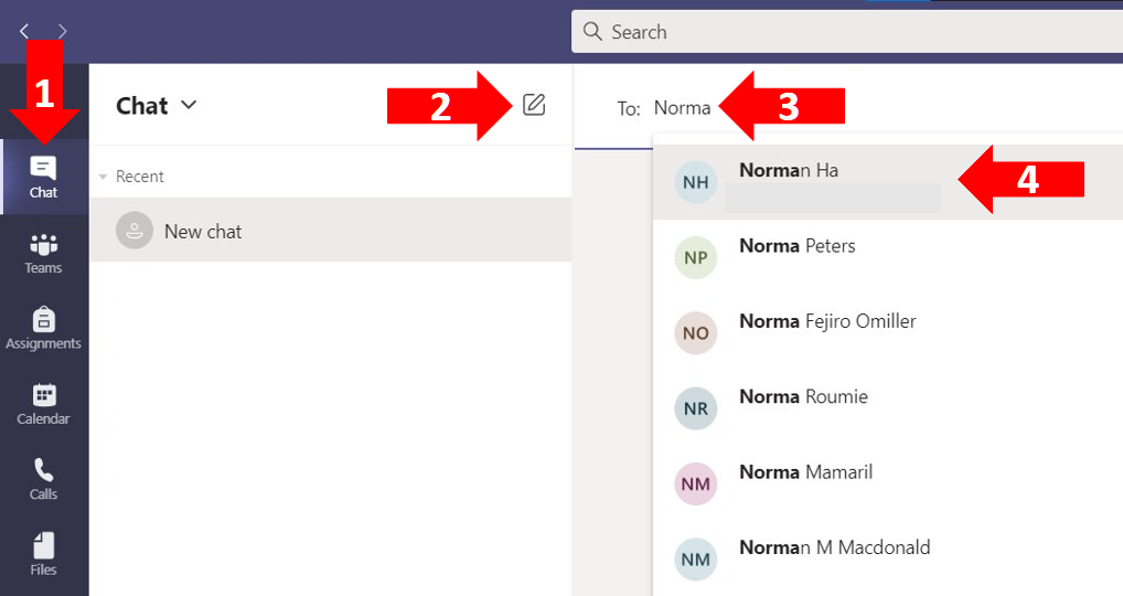 Four step process on finidng and using the Chat feature in MS Teams to directly message someone