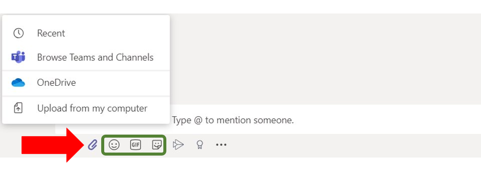 Image that shows which chat Icon can attach documents along with the icons that can share GIFs, Emojis and stickers