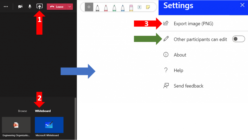 Steps on finding and managing the Whiteboard on MS Teams