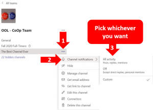 Three step process to accessing the notifications of a channel on MS Teams