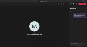 An image displaying the chat function inside a Microsoft Teams meeting