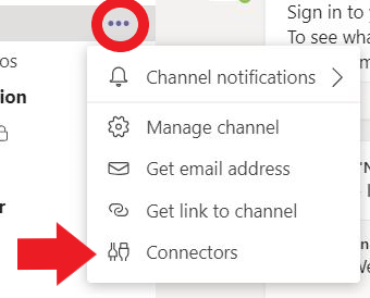 """An image displaying how to access the """"Connectors"""" feature within a channel's options."""