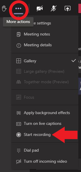 """An image displaying how to access the recording feature of a Teams meeting through the """"More actions"""" menu of the Teams toolbar."""