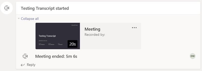 """An image displaying how a meeting recording would appear within a channel's """"Posts"""" section."""