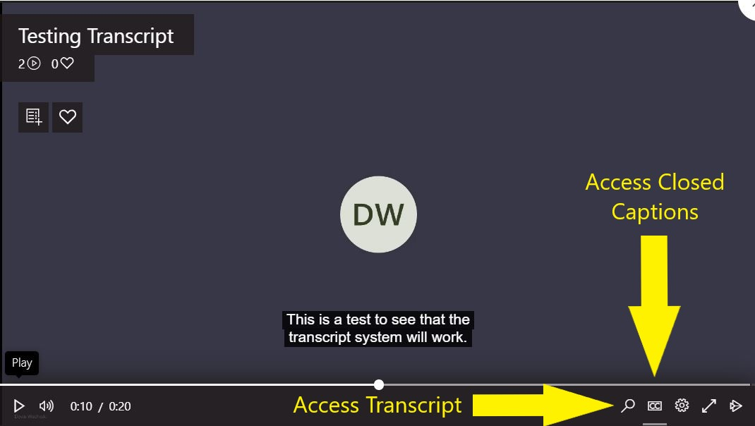 An image identifying the icons to access the Transcript and Closed Captions features within the recording viewer.