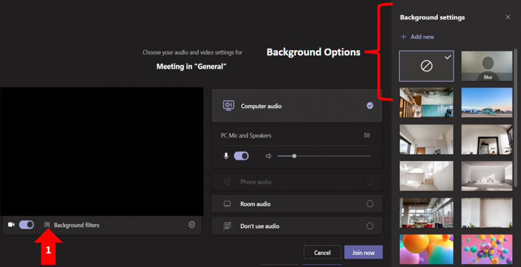 Image showing how to select the background option