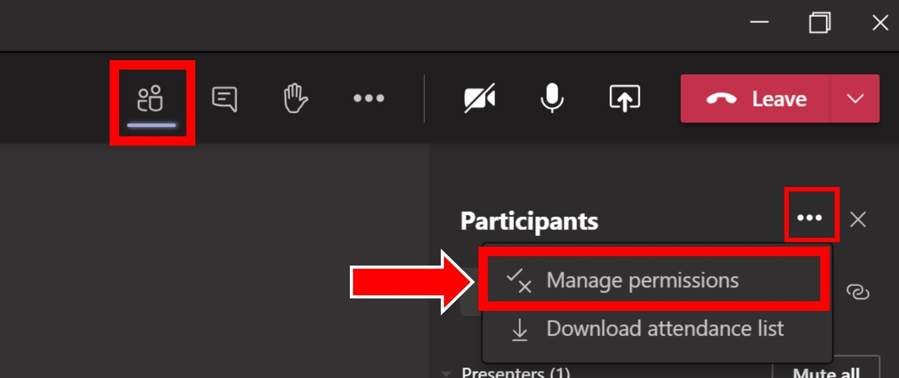 Image showing how to change participant settings