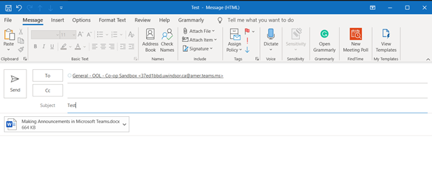 An image showing how to email a channel using Microsoft Outlook