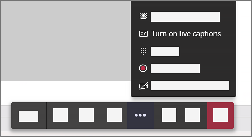 """An image displaying how to access the """"Turn on live captions"""" option, from the """"More options"""" menu of the Teams Meeting toolbar."""